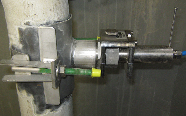 "Example: tapping saddle for installation of 1 ½"" pipe sensors without welding"