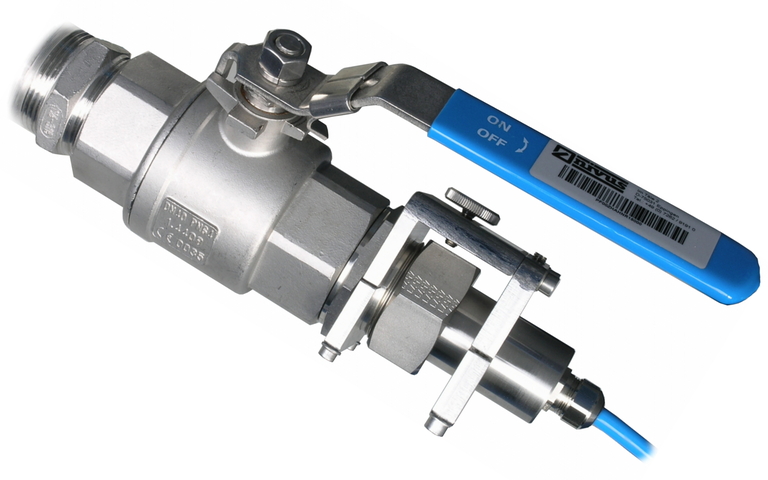 Ball valve for easy sensor retraction for maintenance