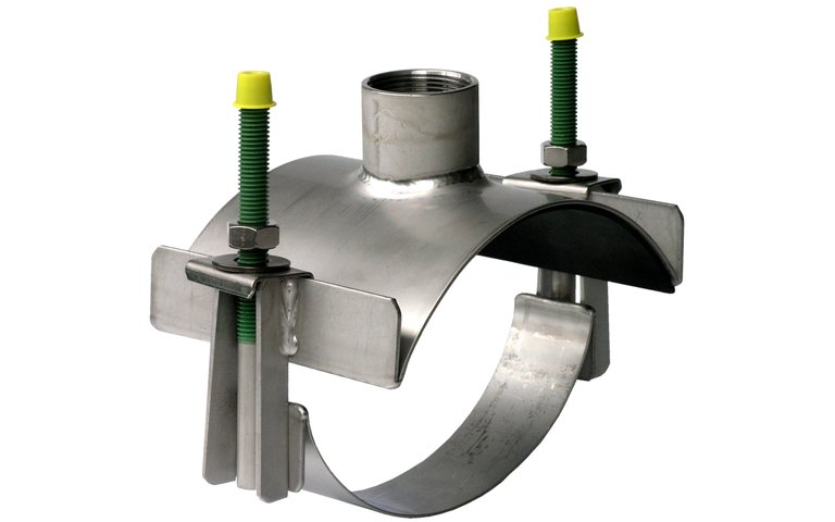 "Tapping saddle for installation of 1 ½"" pipe sensors without welding"